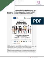 """Lanciata la campagna del progetto """"Nodiscrimination Marche"""" - Occhio alla notizia.it, 12 marzo 2018"""