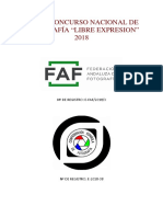"""Bases XXXIV Concurso Nacional de Fotografía """"Libre Expresión"""" 2018"""