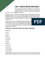 Islamic Calendar - Islamic Month Information