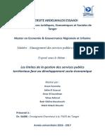 Les Limites de La Gestion Des Services Publics Territoriaux Face Au Développement Socio-économique