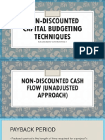 Non Discounted Capital Budgeting Techniques