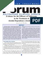 Efficacy Naltrexone Treatment Alcohol Dependence