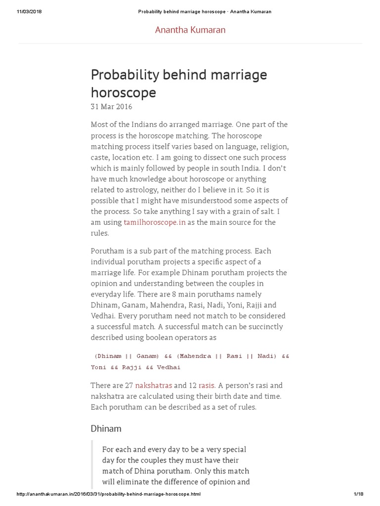 Probability Behind Marriage Horoscope · Anantha Kumaran