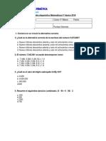 PRUEBA DIAGNÓSTICO MATEMÁTICA 5°