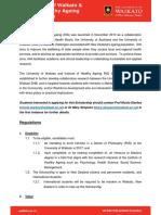 UoW and IHA PhD Scholarship Regulations 2017