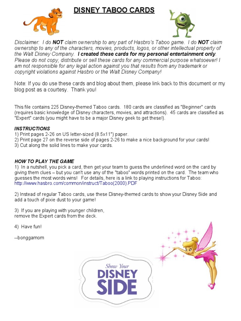 graphic about Printable Taboo Cards called 202410303-Disney-Taboo-playing cards-include-some-Disney-Magic-in the direction of-your