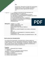 Ementas Psicologia Organizacional 2
