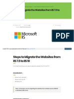 Steps to Migrate the Websites from IIS 7.5 to IIS 10