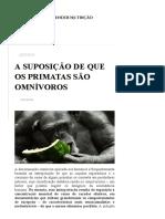 A Suposição de Que Os Primatas São Omnívoros – Compreender Nutrição