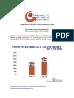 Conflictividad Social en Venezuela en Febrero 2018