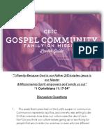 Gospel Community questions