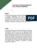 El Sistema Nacional Para La Prevención Mitigación y Atención a Desastre
