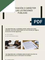 Clasificación o Carácter de Las Licitaciones Publicas
