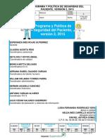 Programa y Politica de Seguridad Del Paciente v2 2015