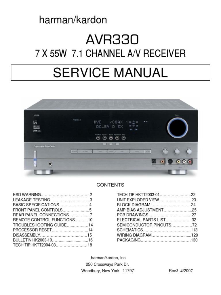 harman kardon avr330 video loudspeaker rh scribd com Harman Kardon AVR 3600 Problems Harman Kardon Service Manual