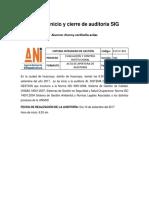 Acta de Inicio y Cierre de Auditoria SIG Jhonny Corilloclla
