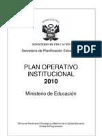 PLAN OPERATIVO INSTITUCIONAL 2010 (MINEDU)