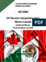 13-03-18 Informe XXI Reunión Interparlamentaria México-Canadá