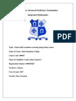 Integrated Mathematics  I.A ( Internal Assessment)  Carlos Gonsalves Guyana