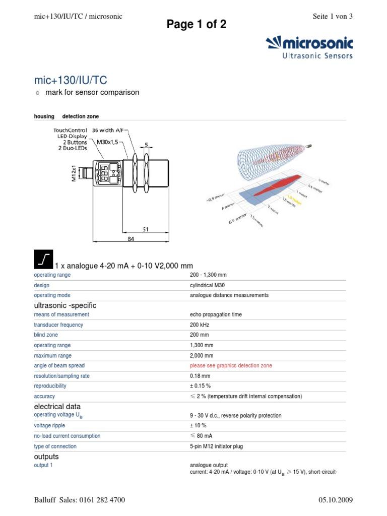 Microsonic MIC 130 IU TC | Electromagnetism | Electronic Engineering