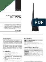Icom IC-P7A Instruction Manual