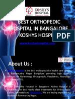 Best Orthopedic Hospital in Bangalore - Koshys Hospital