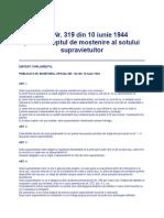 LEGE Nr 319 Din 1944 - Privind Drepturile de Mostenire a Sotului Supravietuitor