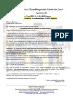 Invitation à l'Assemblée générale d'Amitié Am Sand-Amizero asbl