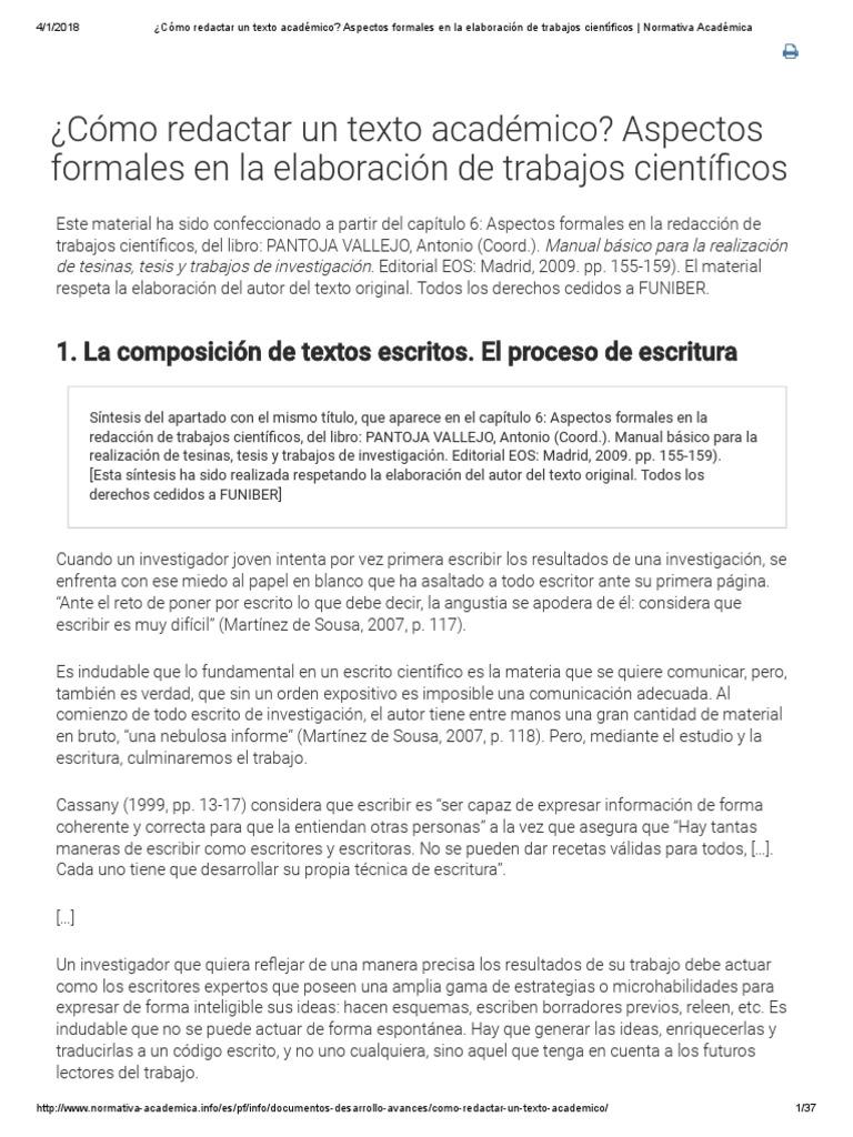 Cómo Redactar Un Texto Académico_ Aspectos Formales en La ...