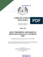 Akta 114 Akta Prosiding Kehakiman (Pengawalseliaan Laporan) 1962