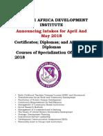 Premese Africa Development Institute Courses (Revised)