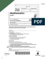 Question Paper Level 1 Mathematics October 2017