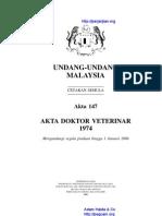 Akta 147 Akta Doktor Veterinar 1974