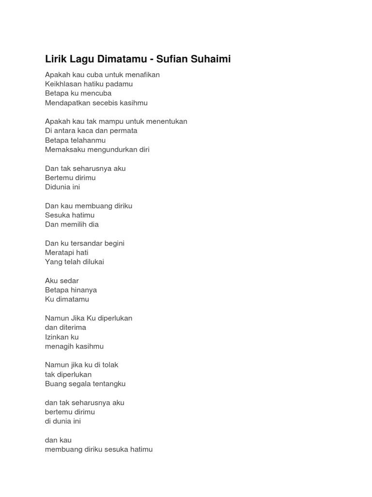 Lirik Lagu Dimatamu Sufian Suhaimi