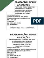 Programação Linear e Aplicações (22 24) 07 2014