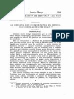 As Origens Das Corporações de Ofício. as Corporações Em Roma