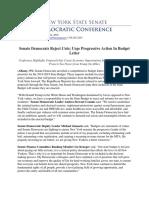 Senate Democrats Reject Cuts; Urge Progressive Action In Budget Letter