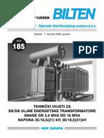 185 - Tehnicki Uvjeti Za SN_SN Uljne Trafoe Od 2,5 Do 16 MVA