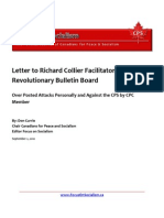 Letter to Richard Collier Facilitator Revolutionary Bulletin Board