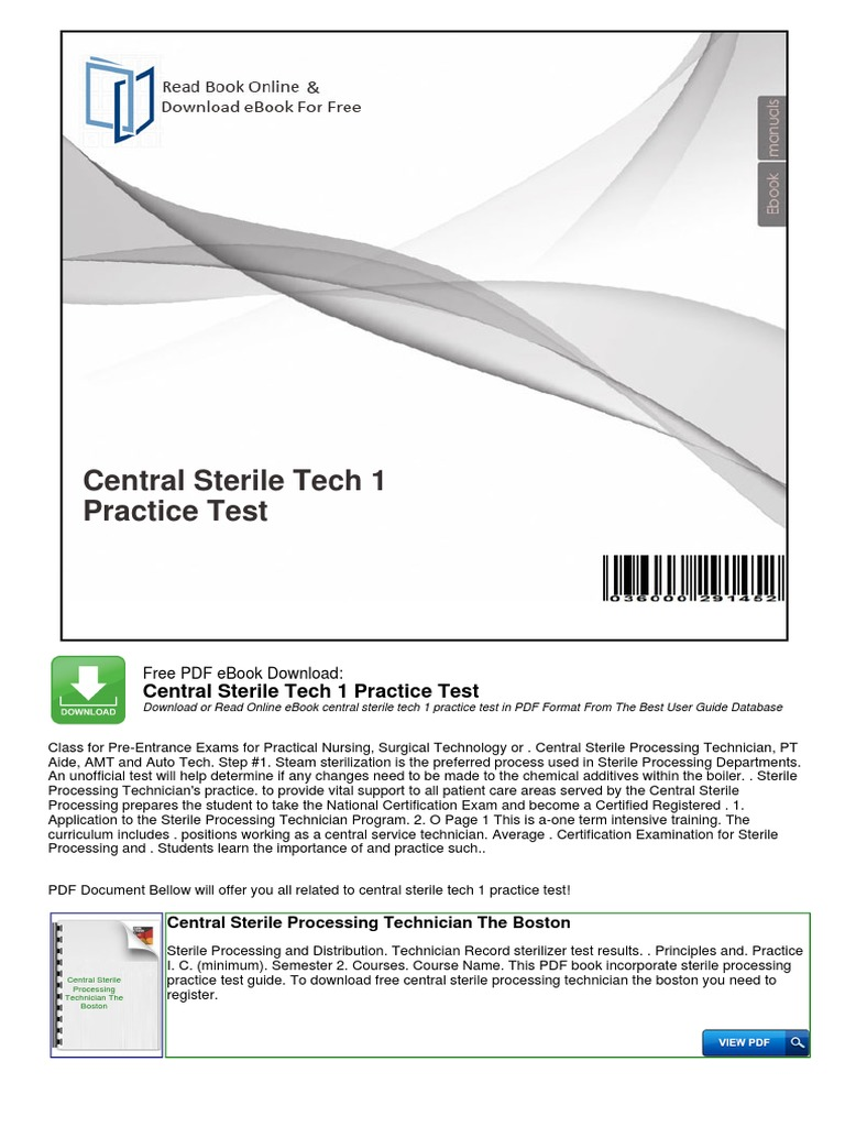 Central Sterile Tech 1 Practice Test General Educational
