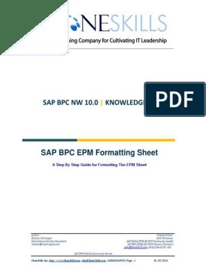 EPM Formatting Sheet | Microsoft Excel | Software