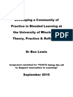 Developing a Community of Practice at the University of Winch Ester 14-9-10 Footnotes