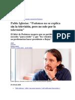 PABLO IGLESIAS Entrevista El Pais 13-6-16