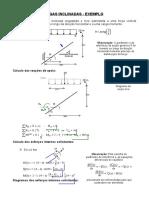 Vigas Inclinadas - Exemplo - Viga engastada e livre submetida a uma forca vertical uniformemente distribuida ao longo da direcao horizontal e carga momento.doc
