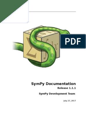 Sympy Docs PDF 1 1 1   Python (Programming Language