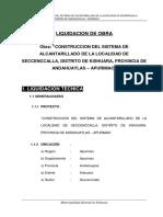 Liquidacion Tecnico Financiera de Obra Huambo Cabanaconde Arequipa
