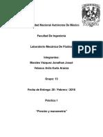 Práctica 1 - Presión y Manometría