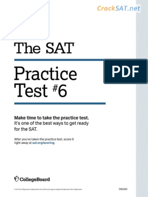 SAT Practice Test 6 pdf | Sat | News