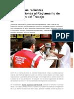 Conozca Las Recientes Modificaciones Al Reglamento de Inspección Del Trabajo