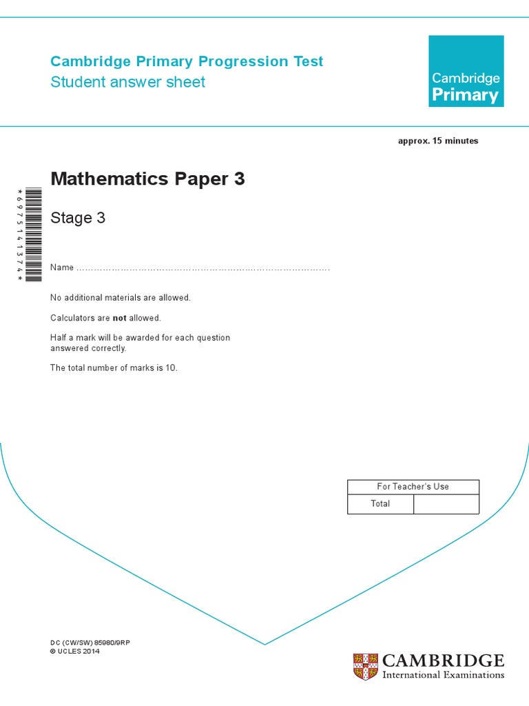 Cambridge primary math stage 3 answer sheet | Educational